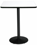 36'' Square Laminate Bistro Height Pedestal Table with Crisp Linen Top - Black Round Base [T36SQ-B1922-BK-CL-38-IFK]