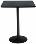 36'' Square Laminate Bistro Height Pedestal Table with Graphite Nebula Top - Black Round Base [T36SQ-B1922-BK-GRN-38-IFK]