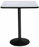 36'' Square Laminate Bistro Height Pedestal Table with Grey Nebula Top - Black Round Base [T36SQ-B1922-BK-GYN-38-IFK]