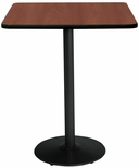 36'' Square Laminate Bistro Height Pedestal Table with Mahogany Top - Black Round Base [T36SQ-B1922-BK-MH-38-IFK]