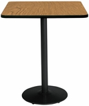 36'' Square Laminate Bistro Height Pedestal Table with Medium Oak Top - Black Round Base [T36SQ-B1922-BK-MO-38-IFK]