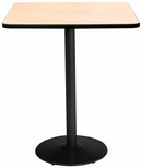 36'' Square Laminate Bistro Height Pedestal Table with Natural Top - Black Round Base [T36SQ-B1922-BK-NA-38-IFK]