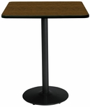 36'' Square Laminate Bistro Height Pedestal Table with Walnut Top - Black Round Base [T36SQ-B1922-BK-WL-38-IFK]