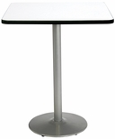 36'' Square Laminate Bistro Height Pedestal Table with Crisp Linen Top - Silver Round Base [T36SQ-B1922-SL-CL-38-IFK]