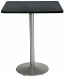36'' Square Laminate Bistro Height Pedestal Table with Graphite Nebula Top - Silver Round Base [T36SQ-B1922-SL-GRN-38-IFK]