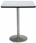 36'' Square Laminate Bistro Height Pedestal Table with Grey Nebula Top - Silver Round Base [T36SQ-B1922-SL-GYN-38-IFK]