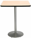 36'' Square Laminate Bistro Height Pedestal Table with Natural Top - Silver Round Base [T36SQ-B1922-SL-NA-38-IFK]
