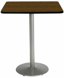 36'' Square Laminate Bistro Height Pedestal Table with Walnut Top - Silver Round Base [T36SQ-B1922-SL-WL-38-IFK]