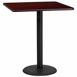 36'' Square Mahogany Laminate Table Top with 24'' Round Bar Height Base [BFDH-3636MAHSQ-7BAR-TDR]
