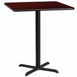 36'' Square Mahogany Laminate Table Top with 30'' x 30'' Bar Height Base [BFDH-3636MAHSQ-4BAR-TDR]