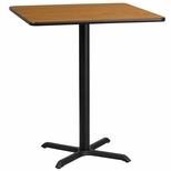 36'' Square Natural Laminate Table Top with 30'' x 30'' Bar Height Base [BFDH-3636NATSQ-4BAR-TDR]