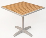 36'' Square Synthetic Teak Outdoor Table Top with Silver Base [TA-PT-36X36-AL-1805-FLS]