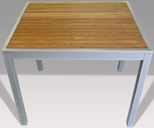 36'' Square Synthetic Teak Inlay Outdoor Table with Silver Frame [36X36-TEAK-INLAY-TABLE-FLS]