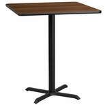 36'' Square Walnut Laminate Table Top with 30'' x 30'' Bar Height Base [BFDH-3636WALSQ-4BAR-TDR]