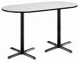36''W x 72''D RaceTrack Laminate Bistro Height Pedestal Table with Crisp Linen Top - Black X-Base [T3672R-B2025-BK-CL-38-IFK]