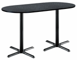 36''W x 72''D RaceTrack Laminate Bistro Height Pedestal Table with Graphite Nebula Top - Black X-Base [T3672R-B2025-BK-GRN-38-IFK]