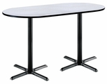 36''W x 72''D RaceTrack Laminate Bistro Height Pedestal Table with Grey Nebula Top - Black X-Base [T3672R-B2025-BK-GYN-38-IFK]