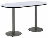 36''W x 72''D RaceTrack Laminate Bistro Height Pedestal Table with Grey Nebula Top - Silver Round Base [T3672R-B1922-SL-GYN-38-IFK]