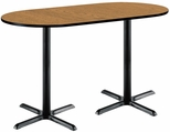 36''W x 72''D RaceTrack Laminate Bistro Height Pedestal Table with Medium Oak Top - Black X-Base [T3672R-B2025-BK-MO-38-IFK]