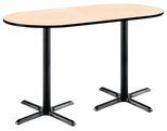 36''W x 72''D RaceTrack Laminate Bistro Height Pedestal Table with Natural Top - Black X-Base [T3672R-B2025-BK-NA-38-IFK]