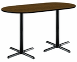 36''W x 72''D RaceTrack Laminate Bistro Height Pedestal Table with Walnut Top - Black X-Base [T3672R-B2025-BK-WL-38-IFK]