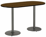 36''W x 72''D RaceTrack Laminate Bistro Height Pedestal Table with Walnut Top - Silver Round Base [T3672R-B1922-SL-WL-38-IFK]