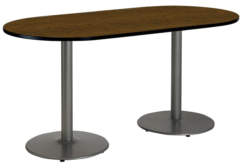 36 W X 72 D Racetrack Laminate Pedestal Table With