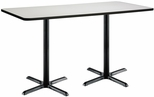 36''W x 72''D Rectangular Laminate Bistro Height Pedestal Table with Crisp Linen Top - Black X-Base [T3672-B2025-BK-CL-38-IFK]