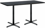 36''W x 72''D Rectangular Laminate Bistro Height Pedestal Table with Graphite Nebula Top - Black X-Base [T3672-B2025-BK-GRN-38-IFK]