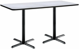 36''W x 72''D Rectangular Laminate Bistro Height Pedestal Table with Grey Nebula Top - Black X-Base [T3672-B2025-BK-GYN-38-IFK]