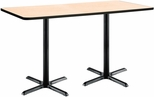 36''W x 72''D Rectangular Laminate Bistro Height Pedestal Table with Natural Top - Black X-Base [T3672-B2025-BK-NA-38-IFK]