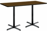 36''W x 72''D Rectangular Laminate Bistro Height Pedestal Table with Walnut Top - Black X-Base [T3672-B2025-BK-WL-38-IFK]