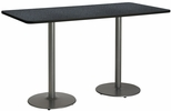 36''W x 72''D Rectangular Laminate Bistro Height Pedestal Table with Graphite Nebula Top - Silver Round Base [T3672-B1922-SL-GRN-38-IFK]