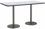 36''W x 72''D Rectangular Laminate Bistro Height Pedestal Table with Grey Nebula Top - Silver Round Base [T3672-B1922-SL-GYN-38-IFK]