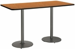 36''W x 72''D Rectangular Laminate Bistro Height Pedestal Table with Medium Oak Top - Silver Round Base [T3672-B1922-SL-MO-38-IFK]