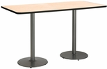 36''W x 72''D Rectangular Laminate Bistro Height Pedestal Table with Natural Top - Silver Round Base [T3672-B1922-SL-NA-38-IFK]