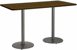 36''W x 72''D Rectangular Laminate Bistro Height Pedestal Table with Walnut Top - Silver Round Base [T3672-B1922-SL-WL-38-IFK]