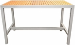 36'' x 70'' Rectangle Synthetic Teak Inlay Bar Outdoor Table with Silver Frame [36X70-TEAK-INLAY-BAR-TABLE-FLS]