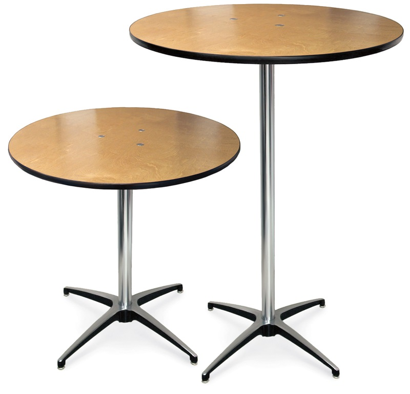 round plywood pedestal table with aluminum x base by mccourt