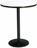 42'' Round Laminate Bistro Height Pedestal Table with Crisp Linen Top - Black Round Base [T42RD-B1922-BK-CL-38-IFK]