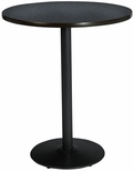 42'' Round Laminate Bistro Height Pedestal Table with Graphite Nebula Top - Black Round Base [T42RD-B1922-BK-GRN-38-IFK]