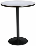 42'' Round Laminate Bistro Height Pedestal Table with Grey Nebula Top - Black Round Base [T42RD-B1922-BK-GYN-38-IFK]