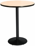 42'' Round Laminate Bistro Height Pedestal Table with Natural Top - Black Round Base [T42RD-B1922-BK-NA-38-IFK]