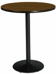 42'' Round Laminate Bistro Height Pedestal Table with Walnut Top - Black Round Base [T42RD-B1922-BK-WL-38-IFK]