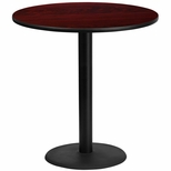 42'' Round Mahogany Laminate Table Top with 24'' Round Bar Height Base [BFDH-42MAHRD-7BAR-TDR]