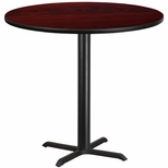 42'' Round Mahogany Laminate Table Top with 33'' x 33'' Bar Height Base [BFDH-42MAHRD-5BAR-TDR]
