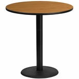 42'' Round Natural Laminate Table Top with 24'' Round Bar Height Base [BFDH-42NATRD-7BAR-TDR]