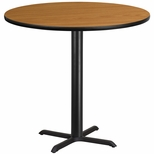 42'' Round Natural Laminate Table Top with 33'' x 33'' Bar Height Base [BFDH-42NATRD-5BAR-TDR]