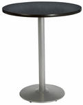 42'' Round Bistro Height Pedestal Table with Graphite Nebula Top - Silver Round Base [T42RD-B1922-SL-GRN-38-IFK]