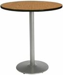 42'' Round Laminate Bistro Height Pedestal Table with Medium Oak Top - Silver Round Base [T42RD-B1922-SL-MO-38-IFK]